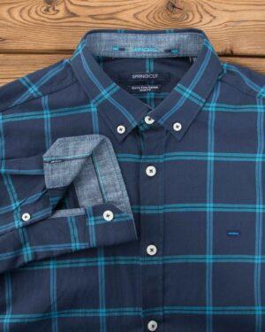 پیراهن آستین بلند مردانه چهارخونه - سرمه ای - یقه