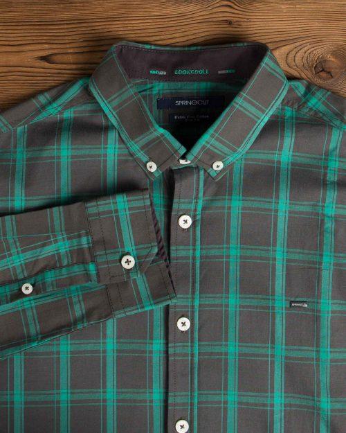 پیراهن آستین بلند چهارخونه مردانه - زیتونی - یقه آستین