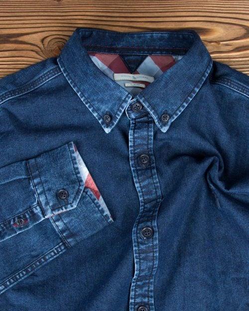 پیراهن جین آبی تیره مردانه آستین بلند - آبی تیره - یقه مردانه