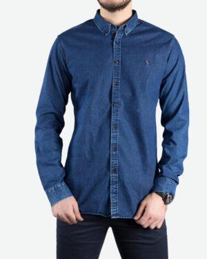 پیراهن جین آبی تیره مردانه آستین بلند - آبی تیره - رو به رو