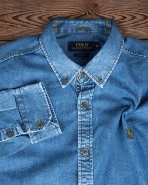 پیراهن جین آستین بلند مردانه - آبی - یقه مردانه