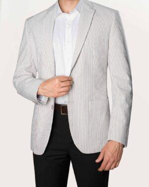 کت تک مردانه مجلسی راه راه - خاکستری - رو به رو