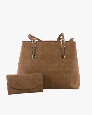 کیف اداری طرحدار زنانه - قهوهای روشن - روبهرو