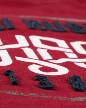 تیشرت آستین کوتاه با آرم کانی راش - زرشکی - جزئیات
