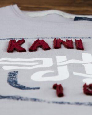 تیشرت آستین کوتاه با آرم کانی راش - طوسی - جزئیات