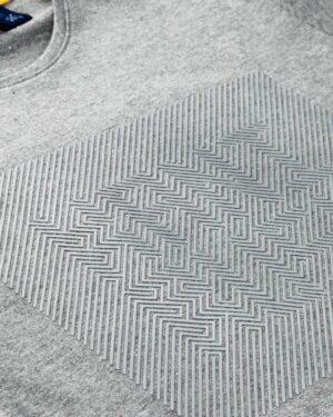 تیشرت آستین کوتاه برفکی مردانه - ملانژ پر رنگ - طرح دار برفکی