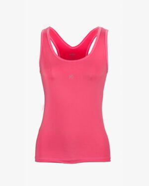 تاپ زنانه دوبنده یقه گرد- صورتی تیره - روبهرو - خرید اینترنتی لباس - فروشگاه اینترنتی لباس سارابارا