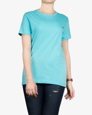 تیشرتهای سادهی نخی پنبهای زنانه - آبی فیروزه ای- روبهرو۱