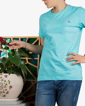 تیشرتهای سادهی نخی پنبهای زنانه - آبی فیروزه ای- محیطی