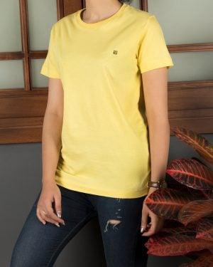 تیشرتهای سادهی نخی پنبهای زنانه - زرد - محیطی