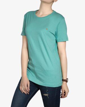 تیشرتهای سادهی نخی پنبهای زنانه - سبزآبی روشن - روبه رو۱