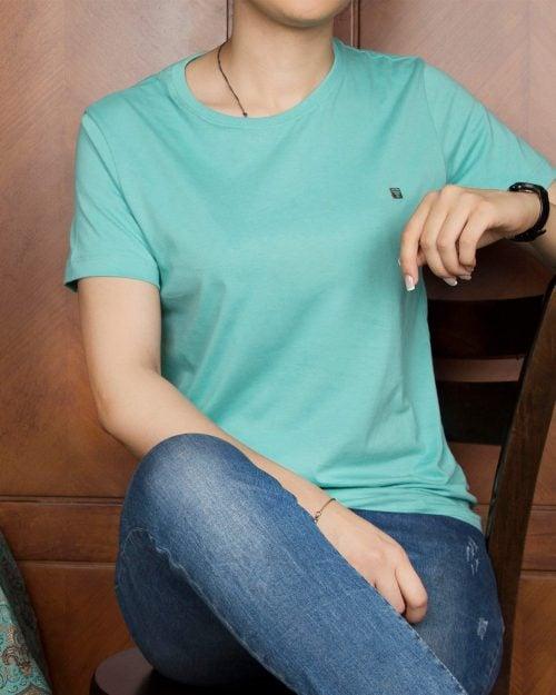 تیشرتهای سادهی نخی پنبهای زنانه - سبزدریایی - محیطی