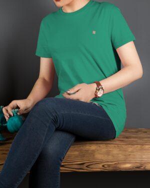 تیشرتهای سادهی نخی پنبهای زنانه - سبز تیره - محیطی