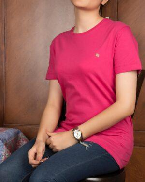 تیشرتهای سادهی نخی پنبهای زنانه - سرخابی - محیطی