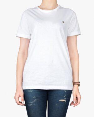 تیشرتهای سادهی نخی پنبهای زنانه - سفید - روبه رو۱