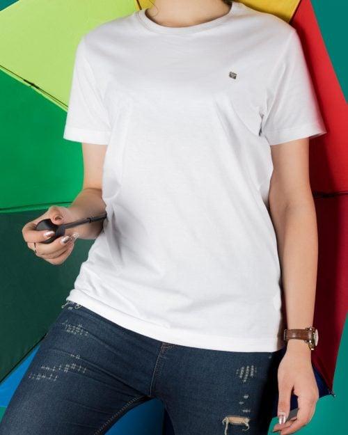 تیشرتهای سادهی نخی پنبهای زنانه - سفید - محیطی