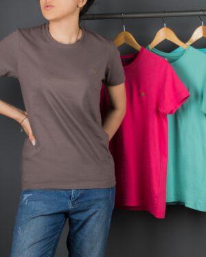 تیشرتهای سادهی نخی پنبهای زنانه - قهوه ای روشن - محیطی