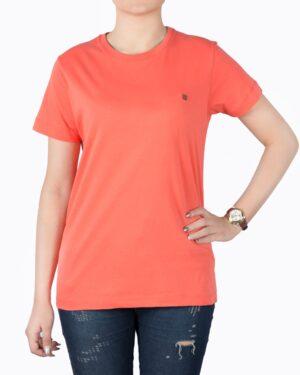 تیشرتهای سادهی نخی پنبهای زنانه -نارنجی تیره - روبه رو۱