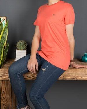 تیشرتهای سادهی نخی پنبهای زنانه -نارنجی تیره - محیطی