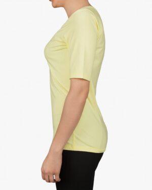 تیشرت دخترانه - آستین سه ربع - لیمویی- بغل
