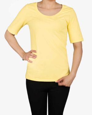 تیشرت دخترانه - آستین سه ربع - لیمویی- رو بهرو