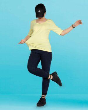 تیشرت زنانه - آستین سه ربع - لیمویی - محیطی
