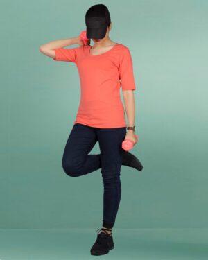 تیشرت زنانه - آستین سه ربع - نارنجی - محیطی