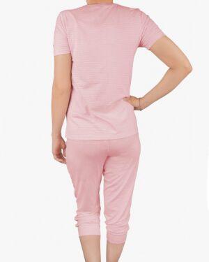 تیشرت و شلوارک دخترانه راه راه - صورتی پاستیلی - پشت - خرید اینترنتی لباس - فروشگاه اینترنتی لباس سارابارا