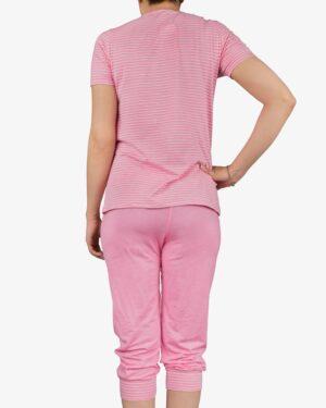 تیشرت و شلوارک دخترانه راه راه - صورتی - پشت - خرید اینترنتی لباس - فروشگاه اینترنتی لباس سارابارا