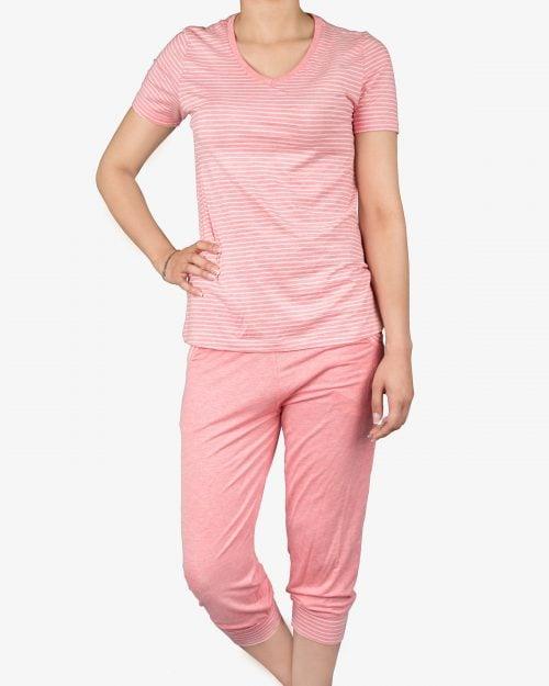 تیشرت و شلوارک دخترانه راه راه - صورتی - روبهرو - خرید اینترنتی لباس - فروشگاه اینترنتی لباس سارابارا