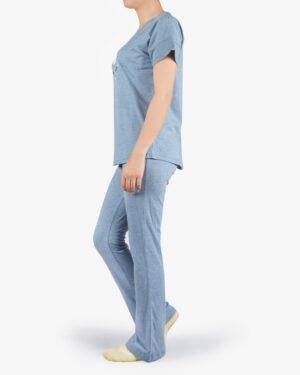 ست تیشرت و شلوار نخی زنانه طرح تک شاخ - آبی روشن- بغل
