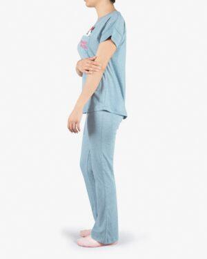 ست تیشرت و شلوار نخی زنانه طرح میکی موس - آبی آسمانی - بغل