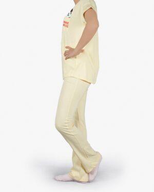 ست تیشرت و شلوار نخی زنانه طرح میکی موس - زرد روشن - بغل