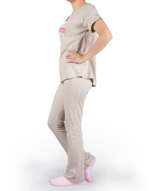 ست تیشرت و شلوار نخی زنانه طرح میکی موس - کرمی - بغل