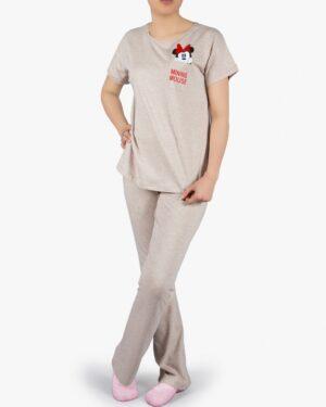 ست تیشرت و شلوار نخی زنانه طرح میکی موس - کرمی - روبهرو