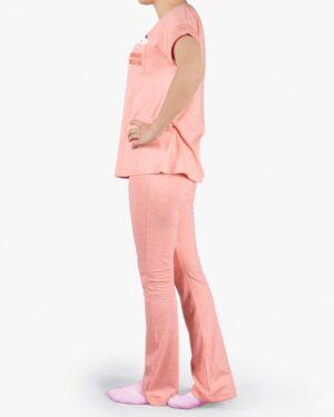 ست تیشرت و شلوار نخی زنانه طرح میکی موس - هلویی سیر - بغل