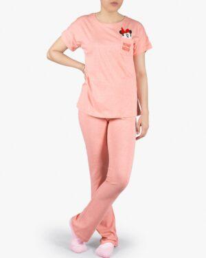 ست تیشرت و شلوار نخی زنانه طرح میکی موس - هلویی سیر - روبهرو