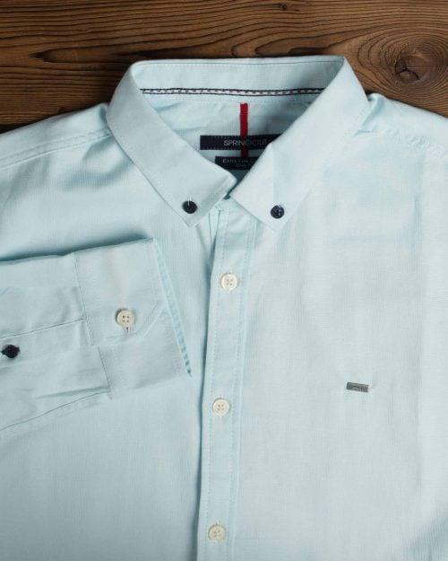 پیراهن آستین بلند مردانه - آبی یخی - یقه مردانه