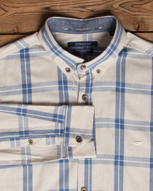 پیراهن آستین بلند چهارخانهی کرم - کرمی - یقه