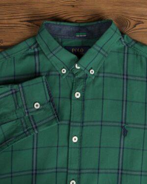 پیراهن آستین بلند چهارخانه سبز مردانه - سبز - یقه