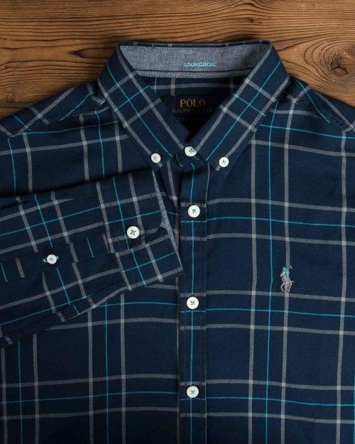 پیراهن آستین بلند چهارخانه سرمه ای مردانه - سرمه ای - یقه