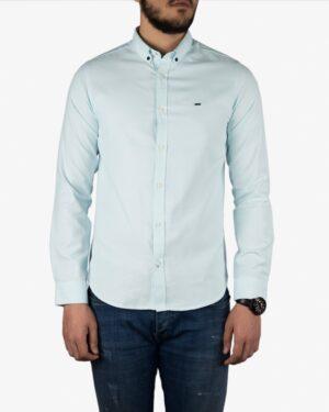 پیراهن آستین بلند مردانه - آبی یخی - روبهرو