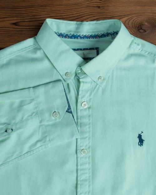 پیراهن آستین بلند مردانه ساده - سبز دریایی - یقه مردانه