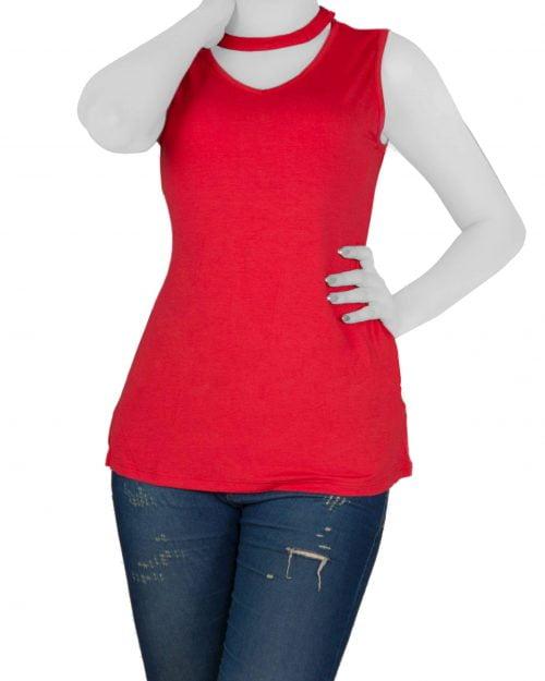 تاپ آستین حلقه ای زنانه با طوق دور گردن-قرمز- روبرو (02)