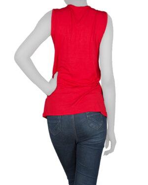 تاپ آستین حلقه ای زنانه با طوق دور گردن-قرمز- پشت (02)