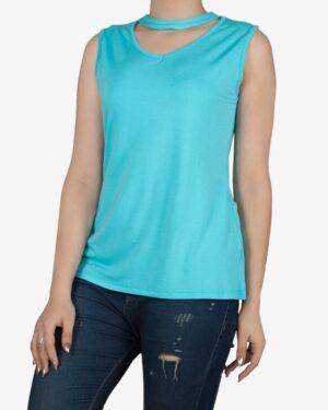 تاپ زنانه آستین حلقهای با طوقه دور گردن - آبی فیروزه ای - روبهرو