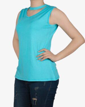 تاپ زنانه آستین حلقهای با طوقه دور گردن - آبی فیروزه ای - روبهرو۲