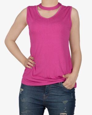 تاپ آستین حلقه ای زنانه با طوقه دور گردن - سرخابی - روبهرو - خرید اینترنتی لباس - فروشگاه اینترنتی لباس سارابارا