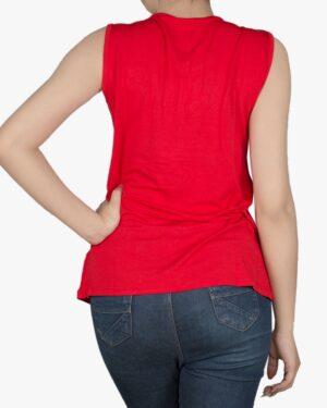 تاپ زنانه آستین حلقهای با طوقه دور گردن - قرمز - پشت