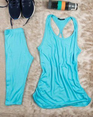 تاپ و شلوارک زنانه اسپرت - آبی فیروزه ای - محیطی
